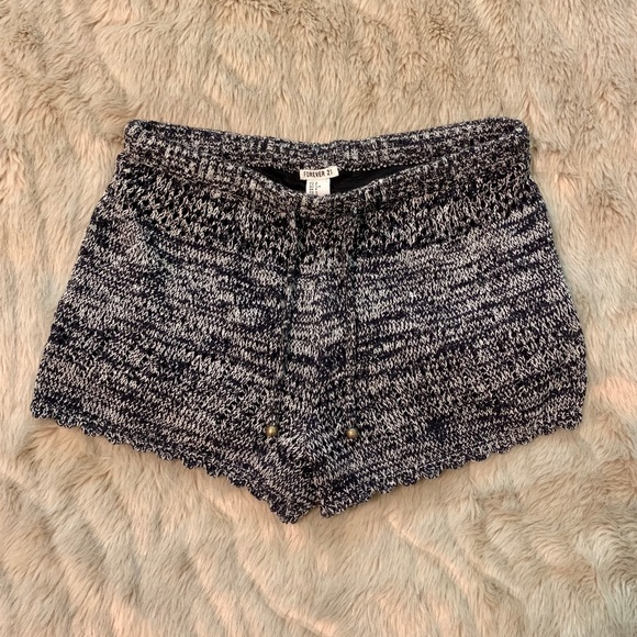 Forever 21 Pants - Navy blue and white knitted drawstring shorts